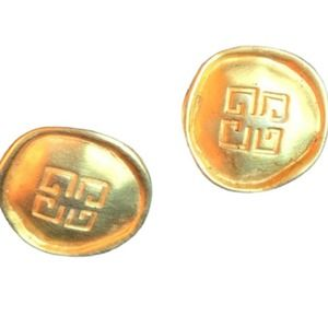 GG Givenchy Gold Medallion Earrings Vintage Logo